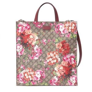 41d73a9f0 GUCCI GG Blooms Pink Floral Supreme Canvas Tote